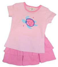 Luigi Girls Pink Sea Turtle Top and Skort Set with Sea Turtle Motif and Matching Skirt(with Shorts Underneath).