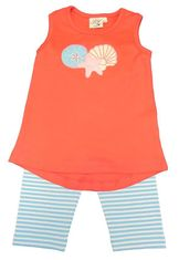 Luigi Girls Coral and Turquoise Seas Shell Legging Set with Sea Turtle Motif and Matching Leggings.