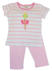 Luigi Girls Pink and White Legging Set with Ballerina Frog and Matching Leggings. Peruvian Cotton.
