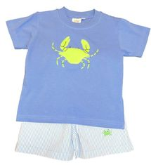 Luigi Boys Crab Blue Knit Shirt and Matching Shorts with Crabs Embroidery. Peruvian Cotton.