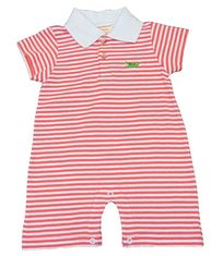 Luigi Boys Sleeve Stripe Polo Romper with Gator Embroidery and Collar. Peruvian Cotton. Softest Cotton in the World.