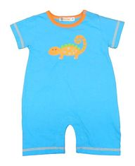Luigi Boys Lizard Pet Turquoise Romper with Lizard Motif. Peruvian Cotton. Softest Cotton in the World.