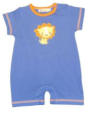 Luigi Boys Lion Romper with Lion Motif. Peruvian Cotton. Softest Cotton in the World.