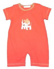 Luigi Boys Dog Romper with Dog Motif. Peruvian Cotton. Softest Cotton in the World.