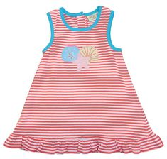 Luigi Girls Sea Shell Sleevelss Stripe Knit Dress with Sea Shell Motif. Peruvian Cotton. Softest Cotton in the World.