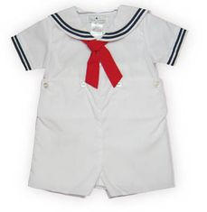 Petit Ami Sailing Instructor white sailor suit with a red tie. Classic.