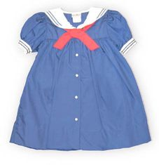Petit Ami Sailing School navy sailor dress with a red tie. Classic.