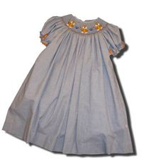 Posh Originals girls clothes Go Tigers blue bishop dress with three tigers on the smocking.