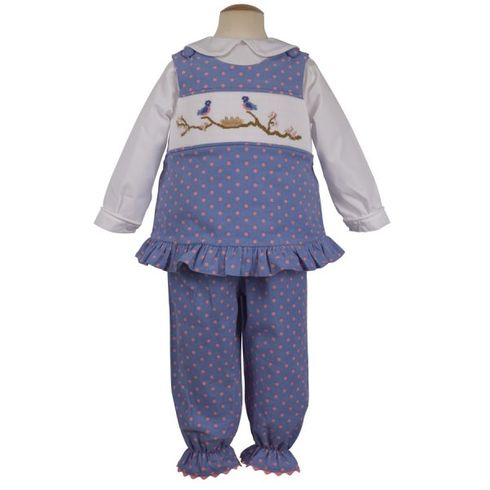 Remember Nguyen Blue Bird Family blue popover set with smocking. Super cute. BLOUSE NOT INCLUDED.