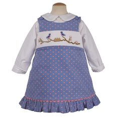 Remember Nguyen Blue Bird Family jumper with smocking across the bodice. Fun for everyday wear. BLOUSE NOT INCLUDED.
