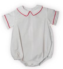 Remember Nguyen Connor white peter pan short sleeve onesie with red trim. Very practical and great to have on hand.