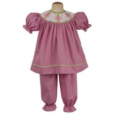 Remember Nguyen Dancin Ballerina soft pink checked long bloomer bishop set. Adorable and classic.