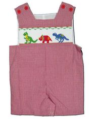 Remember Nguyen Daring Dinosaurs red checked shortall with smocked dinosaurs. Very cute and comfortable.