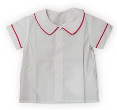 Remember Nguyen Gavin white peter pan short sleeve shirt with red trim. Very practical and great to have on hand.