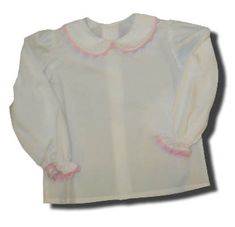 Remember Nguyen girls clothes Lara white peter pan shirt with pink ric rac. Classic and matches many items.