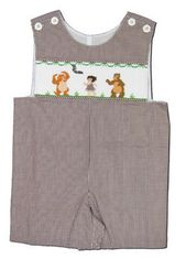 Remember Nguyen Jungle Friends brown checked shortall with a smocked jungle scene. Very cute and classic.