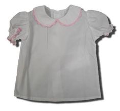 Remember Nguyen Kesha white peter pan blouse with pink ric rac. Classic and great for many outfits.