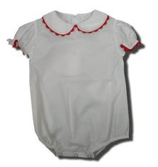 Remember Nguyen Kim white peter pan onesie with red ric rac. Classic and great for many outfits.