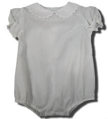 Remember Nguyen Krista white peter pan onesie with white ric rac. Classic and great for many outfits.