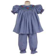 Remember Nguyen Ladybug blue checked bishop long bloomer set. Classic and precious.