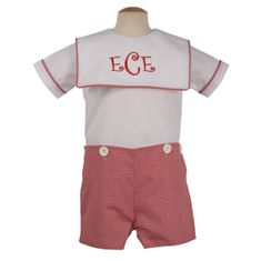 Remember Nguyen Melvin micro checked red button suit. Great for monogramming.