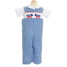 Remember Nguyen Patriotic longall in blue gingham, one-piece features a smocked panel of two donekys in red, white and blue. No shirt.