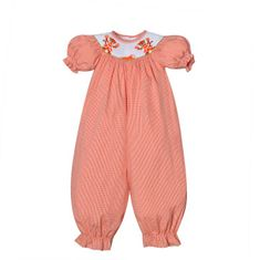 Remember Nguyen T-I-G-E-R-S Girls Orange Check Romper.