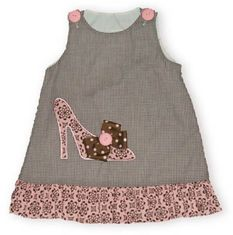Ritzy Tots Going Places brown check gingham flower hem jumper with a shoes appliqued on it with a brown and pink bow. Can be worn with or without a blouse. Beautiful and for the girl who loves shoes.