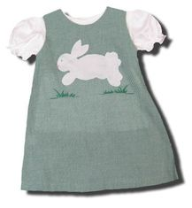 Royal Child Binky Bunny green checked jumper with an appliqued bunny on the front and white blouse. Matches the boys.