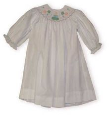 Royal Child Birthday long sleeved bishop dress in white is just delightful.