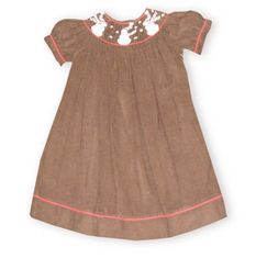 Royal Child Blow Away Snowman brown short sleeve bishop dress with three snowmen on the smocking.