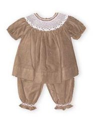 Royal Child Esther soft brown corduroy bishop pants set has sweet white smocking at the neckline and cuffs. Comfortable cotton. Coordinating outfit for brother.