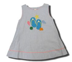 Royal Child Flip Floppin Around blue checked dress with appliqued flip flops. So cute.