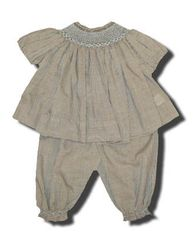Royal Child girls clothes Holly brown and white checked bishop popover set that is exquisite.