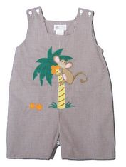 Royal Child Monkey Time chocolate checked shortall with a monkey scene appliqued. Super cute and a must have for your boy.