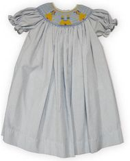 Royal Child Princess Castle blue and white checked bishop dress with two princesses and a castle in the smocking. So cute for your little princess.
