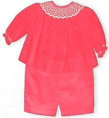 Royal Child Sarah pants set is red cotton corduroy with sweet white smocking at the neckline and cuffs.