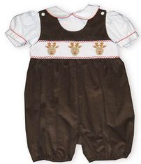 Royal Child Three Deer, dark chocolate brown, fine corduroy shortall features Rudolf and his two best friends smiling out from the smocking.