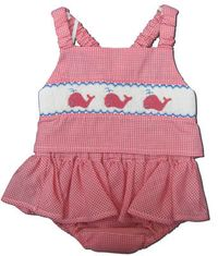 Royal Child Whale Caravan cranberry checked seersucker two piece swimsuit that matches the boys. Super cute.