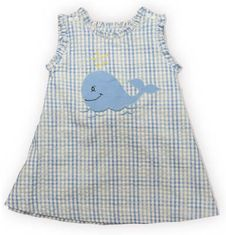 Royal Child Whale Spouting checked seersucker jumper with a whale appliqued on the front. Matches the boys.