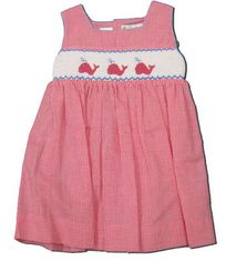 Royal Child What a Whale cranberry checked dress with three whales smocked across the front. Super cute.