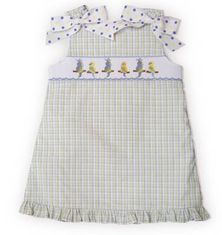 Secret Wishes Lovebirds checked jumper with smocked birds across the bodice. Very cute for school and play.