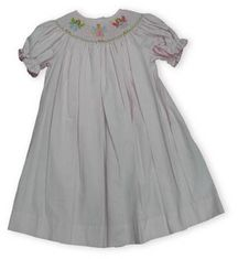 Silly Goose Fairy Dance soft pink and white bishop dress with fairy smocking and pink ric rac trim.