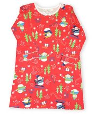 Skivvydoodles Snowman Field Day red nightgown with a winter print including snowmen and trees.