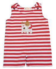 Luigi Boys Best Friend Sleeveless Red Stripe Romper with Dog Motif.