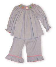 Vive la Fete Merry Christmas blue gingham check girls smocked bishop pant set with Christmas smocking.