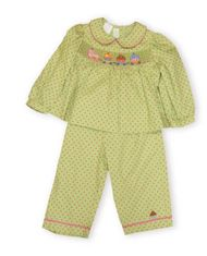 Vive la Fete Sweet Ride brushed cotton lime with pink dots pant set with a train cupcake smocking motif.