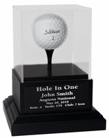 Acrylic Hole In One Trophy with Black Wood Base