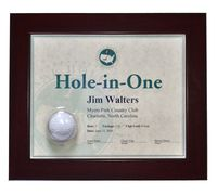 Framed Hole-In-One Certificate & Ball