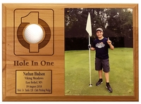 Hole In One Ball and Photo Plaque with Brass Plate